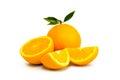 Oranges isoated on white background group of ripe juicy Royalty Free Stock Image