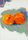 Oranges original oil painting of tasty orange fruit on canvas modern impressionism Royalty Free Stock Photography
