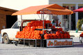 Oranges for sale orange and clementines on the roadside in the algarve portugal Royalty Free Stock Photos