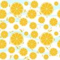 Oranges slices seamless pattern splash on blue whi Royalty Free Stock Photo