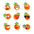 Oranges - vector isolated cartoon emoticons Royalty Free Stock Photo