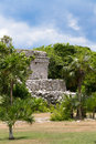 Oratory temple of mayan ruins at tulum mexico Royalty Free Stock Photo