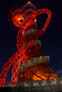 The orbit a nighttime shot of lit up in red Stock Images