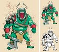 Orc illustration of it is in different versions no transparency and gradients used Stock Images