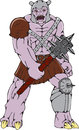 Orc warrior holding club front cartoon style illustration of an wielding a with thorns and spikes viewed from on isolated Royalty Free Stock Photos