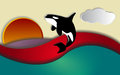 Orca sunset orcinus killer whale jumping in vector Royalty Free Stock Image