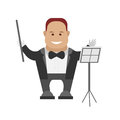 Orchestra conductor illustration of on white background Royalty Free Stock Image