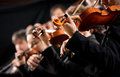 Orchestra first violin section symphony performing on dark background Stock Photography