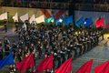 Orchestra of the moscow suvorov military music college september at festival spasskaya tower on Stock Image