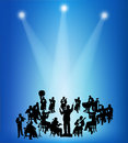 Orchestra musicians silhouettes on able stage background Royalty Free Stock Photos