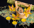 Orchid flowers sea salt candles and objects for spa concept procedures on a black background Stock Image