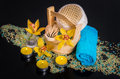 Orchid flowers sea salt candles and objects for spa concept procedures on a black background Royalty Free Stock Photos