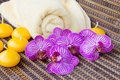Orchid flowers with towel Stock Images