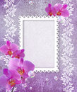 Orchid and openwork frame Stock Photo