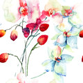 Orchids flowers seamless patter with watercolor illustration Stock Photo
