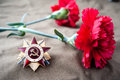 Order of the patriotic war st class and two red carnations still life dedicated to victory day may Royalty Free Stock Photo