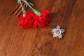 Order of the Patriotic War in St. and two red flower and George ribbon Royalty Free Stock Photo