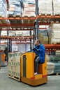 Order picker loader in warehouse Stock Photos
