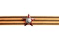 Order of the red star on saint george ribbon as horizontal border isolated white background Royalty Free Stock Image