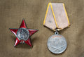 Order of the red star and soviet medal for combat service victory day Stock Photography