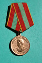 Order sociology of the soviet union medal stalin on a green background Stock Image