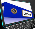 Orders file on laptop shows customers records and purchases lists Royalty Free Stock Photography