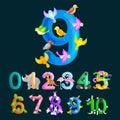 Ordinal numbers 9 for teaching children counting nine birdies