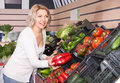 Ordinary mature woman in farm food store Royalty Free Stock Photo