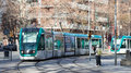 Ordinary tramway on street in barcelona spain january Royalty Free Stock Images