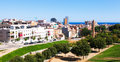Ordinary view of mediterranean city and sea badalona Royalty Free Stock Photo