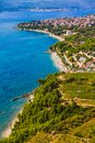 Orebic croatia helicopter aerial shoot of famous tourist destination on peljesac peninsula Stock Photos