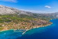 Orebic croatia helicopter aerial shoot of famous tourist destination on peljesac peninsula Royalty Free Stock Photos