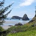 Oregon coast big rocks Royalty Free Stock Photo