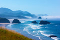 Oregon Coast View Towards Haystack Rock Royalty Free Stock Photo
