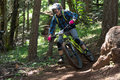 Oregon enduro a racers takes a high speed corner during the in hood river Stock Images