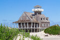 Oregon inlet life saving station the restored stands on the north carolina outer banks coast at pea island national wildlife Royalty Free Stock Image