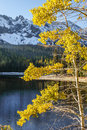 Oregon portrait fall color against snow capped mountains at strawberry lake located close to prarie city in eastern Royalty Free Stock Photo