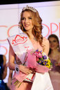 Orel russia december miss orel beauty contest vice ekatherina alekseenok with tiara vertical Royalty Free Stock Photo