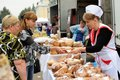 Orel, Russia, September 5, 2015: Women selling and buying pastry Royalty Free Stock Photo
