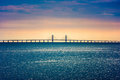 Oresund Bridge connecting Copenhagen Denmark and Malmo Sweden Royalty Free Stock Photo