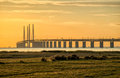 Oresund bridge at dusk viewed from the swedish side the is meters long and continues into the drogden tunnel which measures Royalty Free Stock Photography