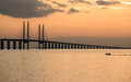 Oresund bridge at dusk viewed from the swedish side the which connects sweden and denmark is meters long and continues into Stock Photo