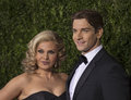 Orfeh and andy karl arrive at the tony awards singer songwriter actress husband actor on red carpet for th annual radio city Royalty Free Stock Image