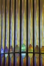 Organ pipes close up on in barcelona cathedral sagrada familia Stock Images