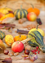 Organic autumn fruits and vegetables on table Royalty Free Stock Photos