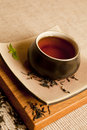 Organic black tea still life. Royalty Free Stock Photography