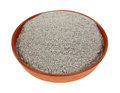 Organic buckwheat flour dish an angle view of in a Royalty Free Stock Image