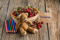 Organic cherry in basket with toy bear on table for kid Royalty Free Stock Photo