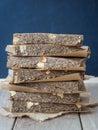 Organic chewy muesli granola power bars Royalty Free Stock Photo