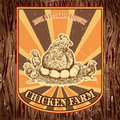 Organic chicken farm vintage label with hen with chicks on the grunge background.